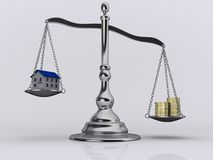 Scale 1. Conceptual 3d randering of a silver brass scale measuring house and money Royalty Free Stock Photos
