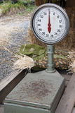 Scale. A slightly rusted scale awaits a load to weigh Stock Image