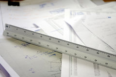 Scale, architecture and engineer triangle ruler Stock Images