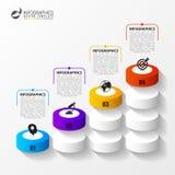 Scale astratte 3d Infographic o modello di cronologia Vettore Immagini Stock Libere da Diritti