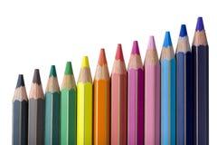Scale av kulöra blyertspennor arkivbilder