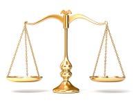 Scale Balance. Golden scale balance isolated on white background Royalty Free Stock Image