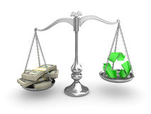 Scale Balance. US Dollar vs recycleing Royalty Free Stock Images