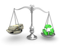 Scale Balance. US Dollar vs recycleing Royalty Free Stock Image