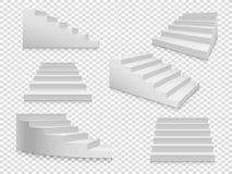 Scale bianche 3d Scala o scala isolata vettore fino a successo, scala domestica su fondo trasparente illustrazione di stock