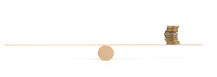 Scale with coins on white background royalty free stock photography