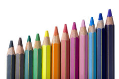Scale of Colored Pencils Stock Images