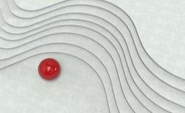 Scale curve e palla di metallo rossa illustrazione 3D Immagini Stock
