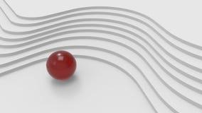 Scale curve e palla di metallo rossa illustrazione 3D Immagine Stock