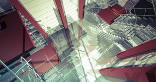 scale 3d Interno industriale moderno, scale, spazio pulito dentro dentro Immagine Stock Libera da Diritti