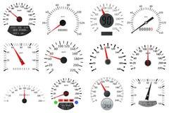 Scale del tachimetro e del tachimetro Ampia raccolta Immagine Stock