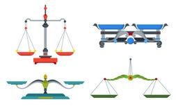 Scale dell'equilibrio con peso e le pentole uguali Il dispositivo alla massa della misura, confronta due strumenti degli oggetti, royalty illustrazione gratis