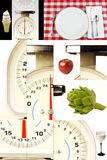 Scale della cucina, alimenti, guardando il vostro peso, stante Fotografia Stock