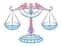 Scale della giustizia, segno dello zentangle della Bilancia dello zodiaco illustrazione di stock