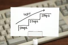 Scale della scrittura che si dirigono verso l'alto con la freccia su carta Concetto di successo di affari ed idea di crescita Immagine Stock