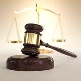 Scale di giustizia e del martelletto illustrazione di stock