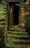 Scale di pietra irregolari in una vecchia casa con erba e muschio e struttura di porta di legno fotografia stock