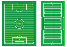 Scale diagram of soccer and american football. Scale  diagrams of a soccer pitch and an american football field, with all markings and dimensions to scale Stock Photos