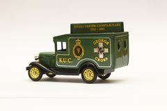A scale die cast model of a Ford Van in the livery of the old Royal Ulster Constabulary police force. A scale die cast model of a Ford Van in the livery of the Royalty Free Stock Photos