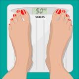 Scale elettroniche e piedi femminili con il pedicure illustrazione vettoriale