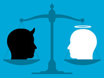 Scale in equilibrium with an angel and devil. Conceptual illustration showing the silhouette of a vintage pan scale in equilibrium with the head of an angel and Royalty Free Stock Images