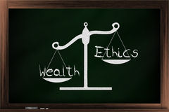 Scale of ethics and wealth. Scale of choices between ethics and wealth on a blackboard Stock Image