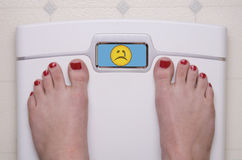 Scale with Feet Emoji Sad. Digital Bathroom Scale Displaying a Sad Emoji stock images