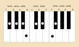 F# major scale fingering for piano. Scale and fingering of F  major scale on piano for education or every application Stock Photography