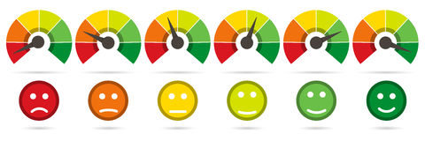 Scale From Red To Green With Arrow And Scale Of Emotions Royalty Free Stock Photos