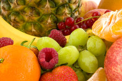 Scale with fruit for diet stock photos