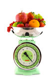 Scale with fruit for diet Stock Photography