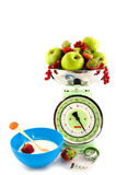 Scale with fruit for diet and yogurt Royalty Free Stock Images
