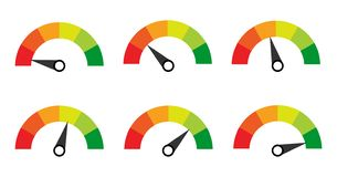 Scale. Gauge. Meter. Indicators with different indicators royalty free illustration