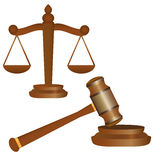 Scale and gavel Royalty Free Stock Images