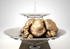 Scale And Gold Nuggets Royalty Free Stock Photo