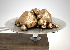 Scale And Gold Nuggets Stock Photo