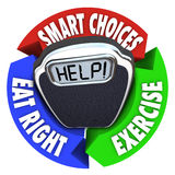 Scale Help Diagram Smart Choices Eat Right Exercise. A scale with the word Help on it surrounded by a circular diagram showing a plan for healthier living stock illustration