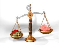 Scale, house and piggy bank. 3d illustration of a scale with house and piggy bank vector illustration
