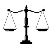 Scale icon. Justice scale icon on white background Royalty Free Stock Images