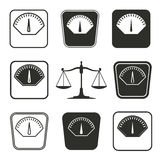 Scale icon set. Scale vector icons set. Black illustration isolated on white background for graphic and web design stock illustration