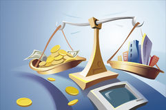Scale Illustration. Money and Buildings on the scale Stock Images