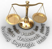 Scale IP rights legal justice words Royalty Free Stock Photo