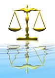 Scale of Justice. Gold scale of justice reflected in water stock illustration