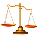 Scale of justice. Golden scale of justice against white background, abstract vector art illustration Stock Photography