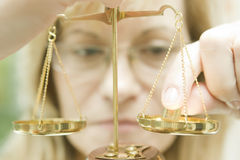 Scale of justice. Woman with a scale, justice Stock Photos