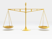 Scale of Justice. A shiny gold scale of justice, balanced stock illustration