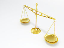 Scale of Justice. A golden scale of justice. balanced stock illustration