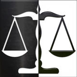 Scale of Justice black and white. Gold scale of justice black and white - glass stock illustration