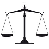 Scale of Justice. On white Royalty Free Stock Photos