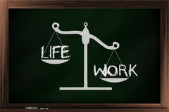 Scale of life and work. Scale of choices between work and life on a blackboard Stock Photos